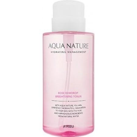A'pieu Осветляющий тонер Aqua Nature Rose Dewdrop Brightening Toner, 500 мл