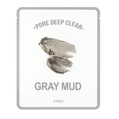 Apieu Тканевая маска с серой глиной Pore Deep Clear Grey Mud mask, 15 мл