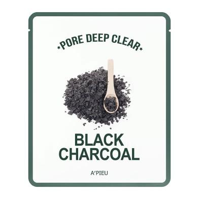Apieu Тканевая маска с черным углем Pore Deep Clear Black Charcoal Mask, 25 мл
