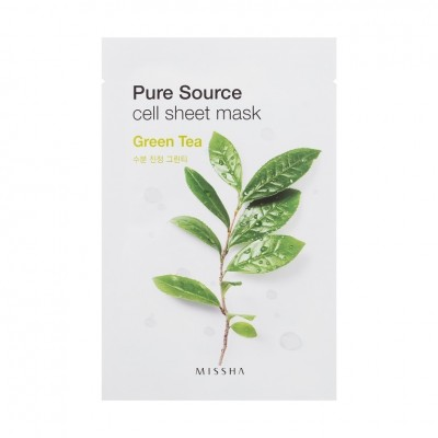 Missha Pure Source Cell Sheet Mask Маска с экстрактом зеленого чая, 21 г