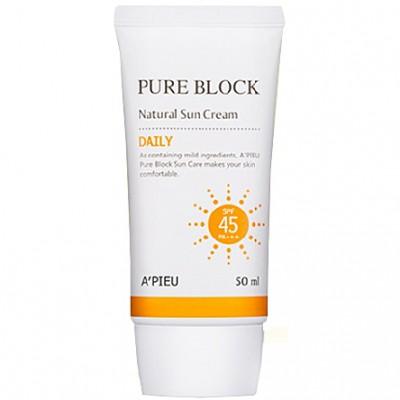 A'PIEU Pure Block Солнцзащитный крем для чувствительной кожи SPF45 / PA +++, 50 мл