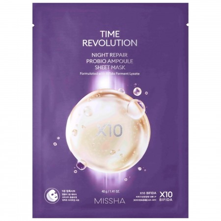 Missha Time Revolution Night Repair Probio Ampoule Sheet Mask Ночная маска с восстанавливающей сывороткой, 40 г.